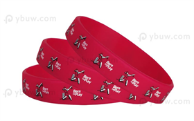Dark Red Printed Silicone Wristband-PW12ASO