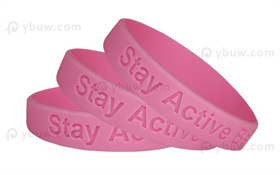 Pink Solid Debossed Silicone Wristband-DW12ASO