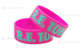 Hot Pink Printed Silicone Wristband-PW25ASO