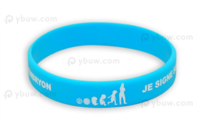 Light Blue Printed Silicone Wristband-PW12ASO