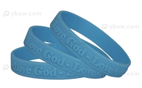 Light Blue Embossed Silicone Wristband-EW12ASO