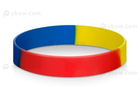Blue Red Yellow Segment Blank Rubber Bracelets
