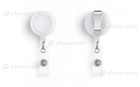 White Belt Clip Badge Reel