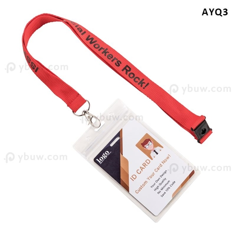 "5/8""(15mm) ID Name Holder Polyester Lanyards with  Lobster Claw-AYQ3"