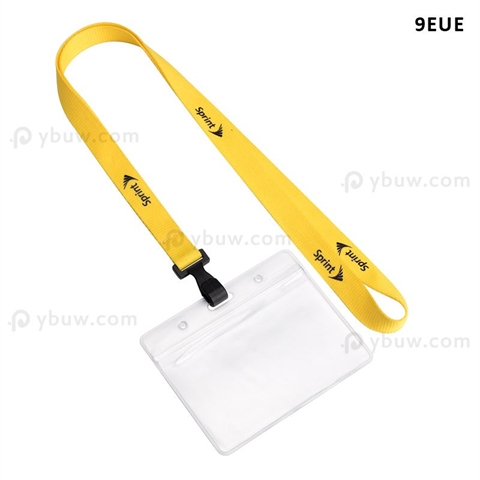 "5/8""(15mm) Plastic Hook Polyester Lanyards with Name Tag Holder-9EUE"