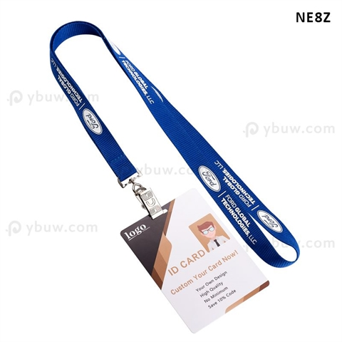 "5/8""(15mm) Bulldog Clip Polyester Lanyards with Laminated ID Card-NE8Z"