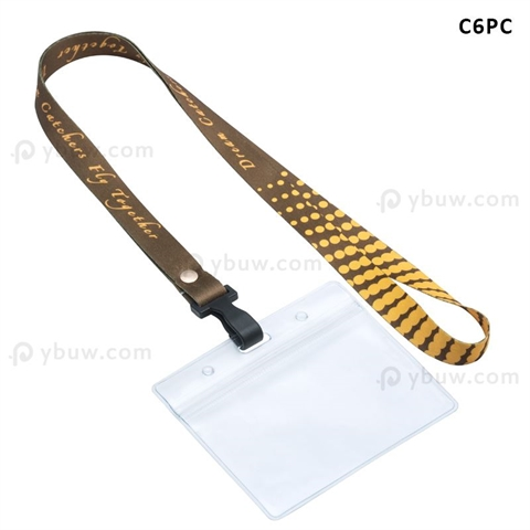 "5/8""(15mm) Full Color Plastic Hook Lanyards with Name Badge Holder-C6PC"