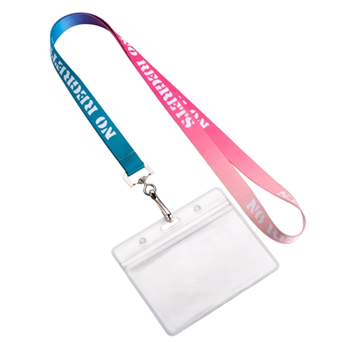 "5/8""(15mm) Full Color Swivel Hook Lanyards with Id Badge Holder-QH9L"