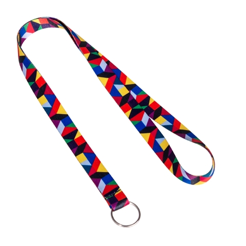 "5/8"" Geometry Pattern Lanyards with Key Ring-LRGX"