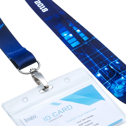 3/4''(20mm)  Full Color Lanyards with Oval Hook and ID Badge Holder-DDHY