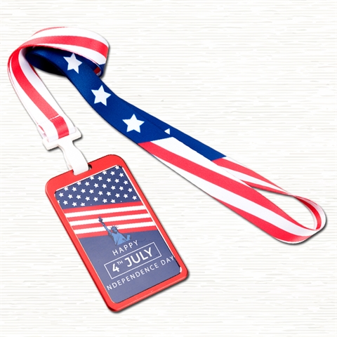 "3/4""(20mm) US Flag Lanyard with Aluminium Badge Holder-6AP8"