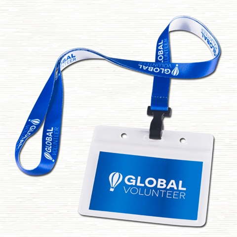 "5/8""(15mm) Plastic Hook Lanyards with Horizontal  Name Badge Holder"