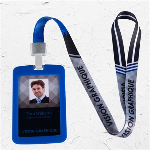 "5/8""(15mm) Blue Gray Lanyard with Silicone Badge Holder-RWHA"